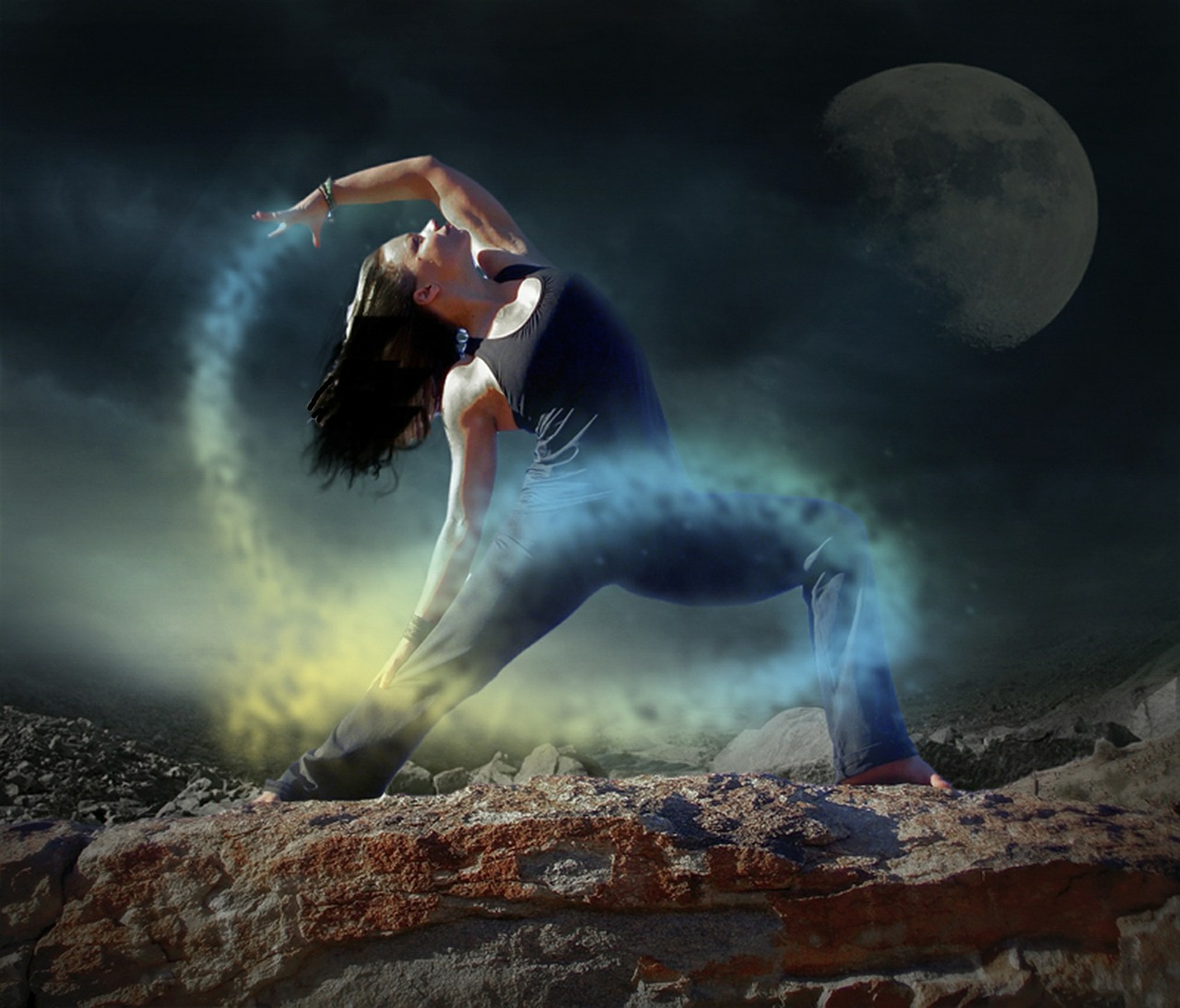 CATMEDIA Creative Services Yoga pose with moon dust