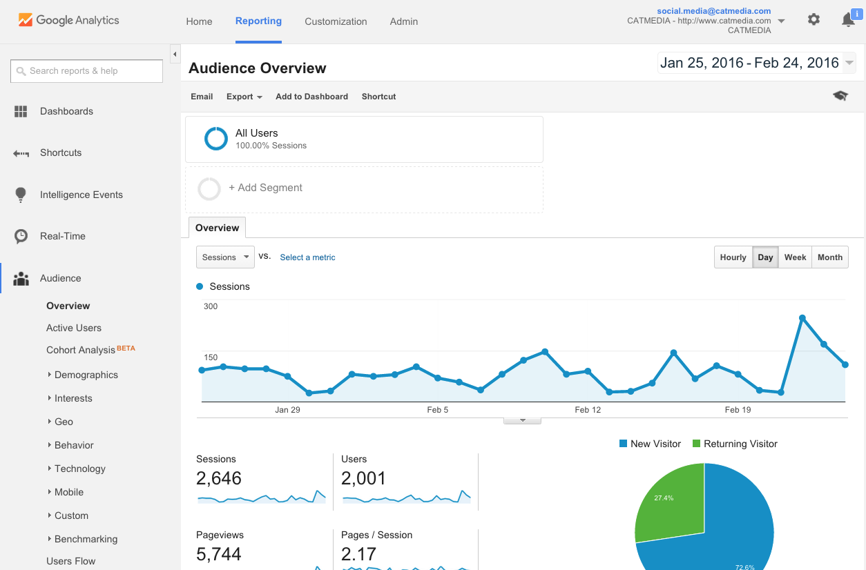 Google Analytics Dashboard- CATMEDIA